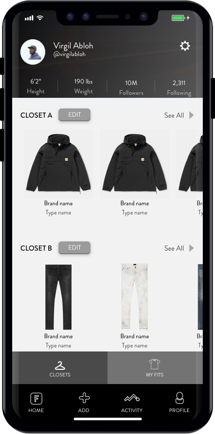 Personal Closets - Build your own closet to either (a) track garments you own, or (b) to bookmark garments you are interested in. Definitely can be used to simply flex as well.