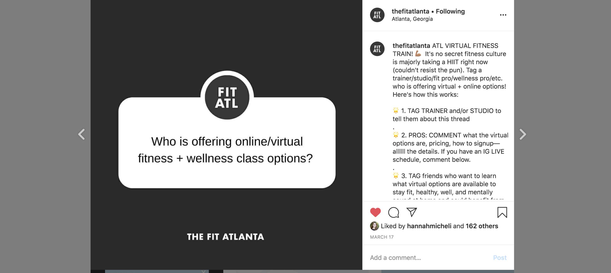 Call for virtual fitness classes in Atlanta on The Fit Atlanta Instagram