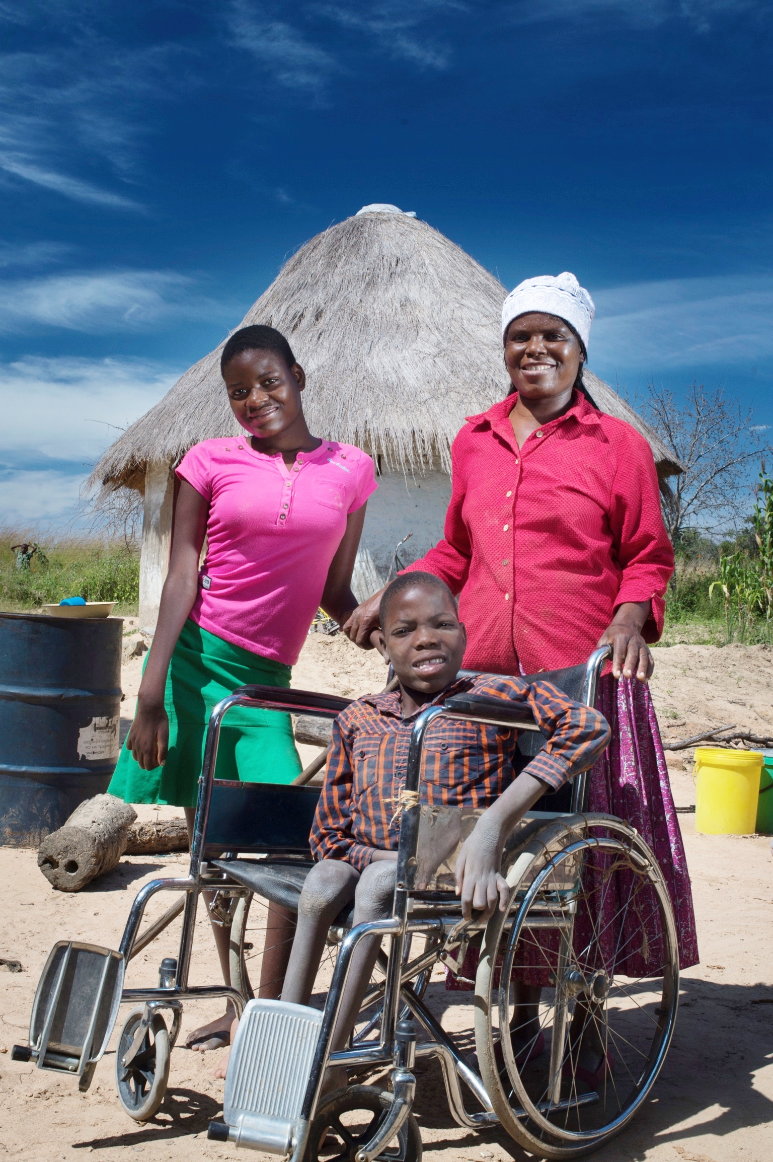 Both siblings have disabilities restricting mobility; they rarely leave their homestead. The trust supplies food and wheelchairs.