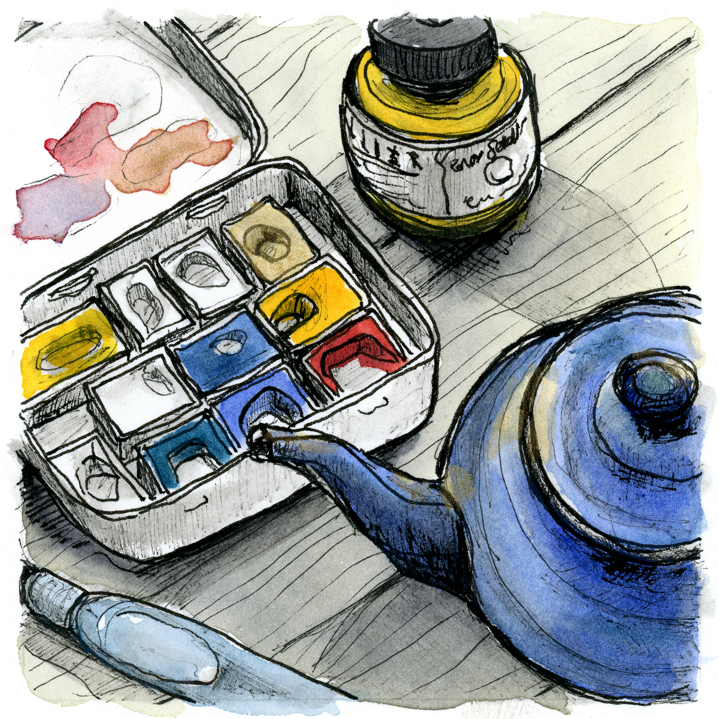 My favourite illustration tools - my waterbrush, a bottle of ink, my little old mint tin filled with watercolours, and of course some tea to keep me hydrated