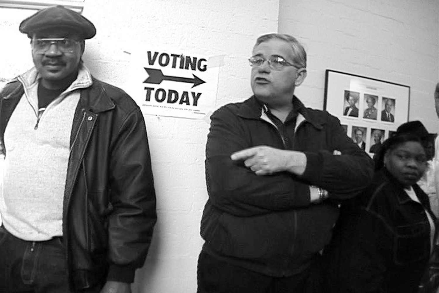 Voters wait in line in Laura Paglin's  No Umbrella - Election Day in the City .