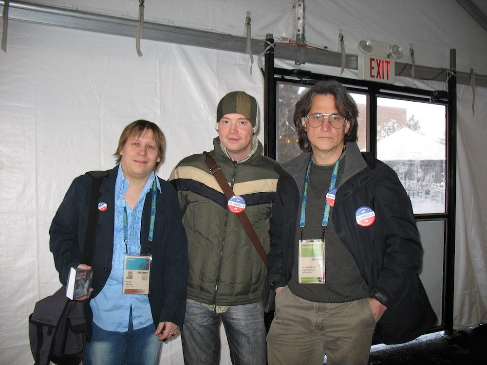 Publicist Ryan Levey, filmmaker Ken Wardrop and Assoc. Producer Duane Verh, in the 'entourage tent'