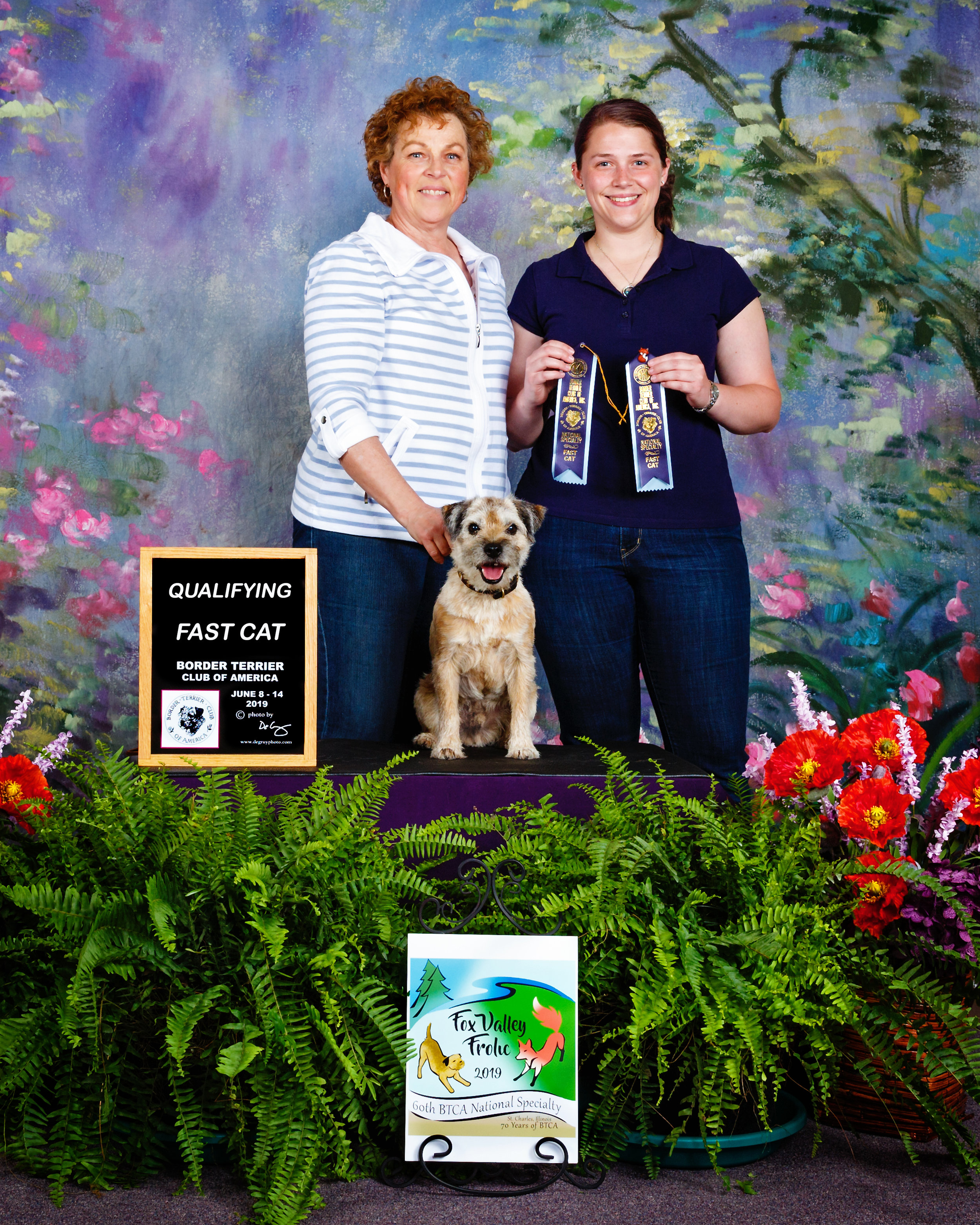 Laura, Blair, and Keifer with his Fast CAT qualifying ribbons at the 2019 Border Terrier Club of America National Specialty.