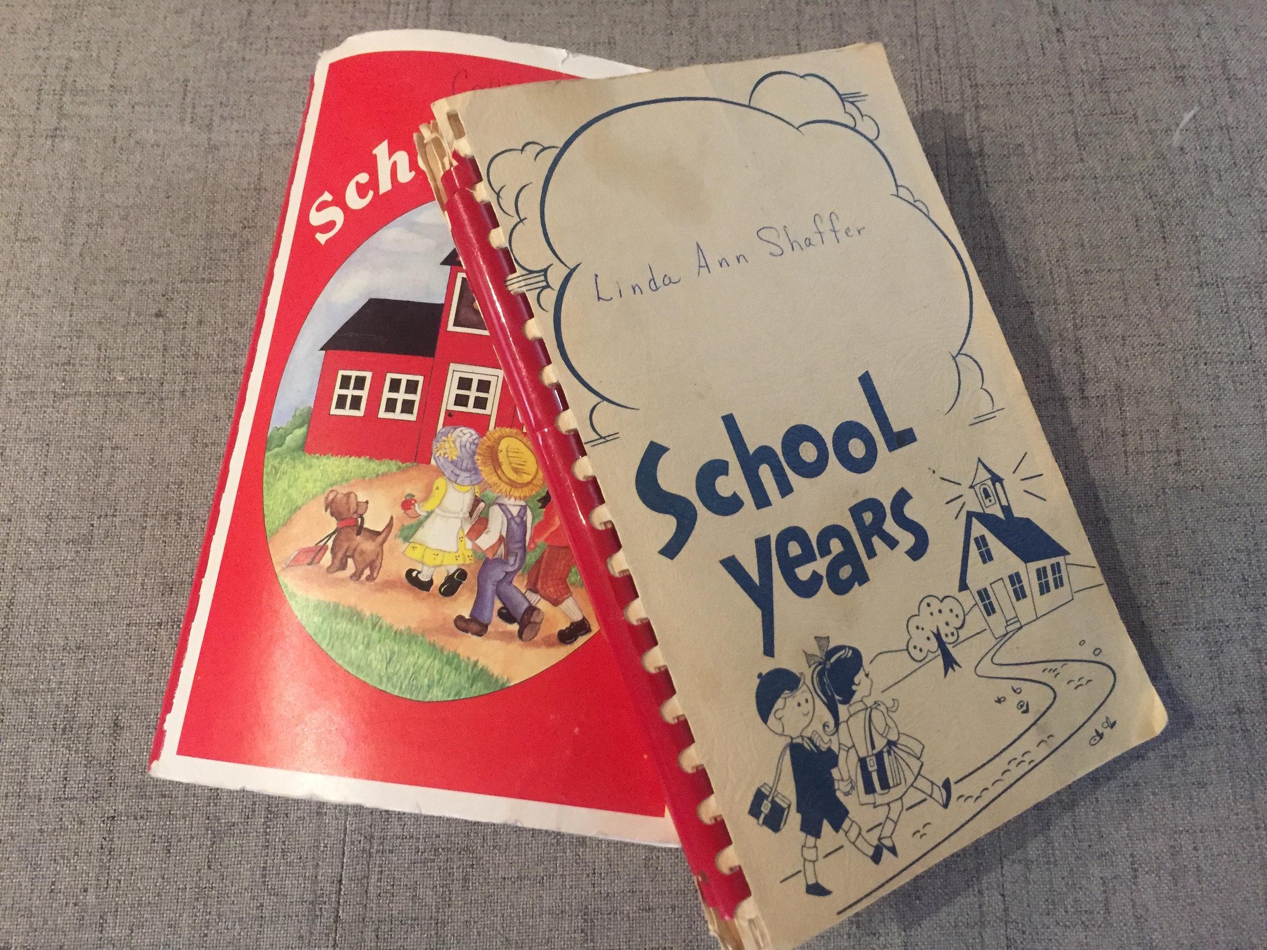 Callie&LindaSchoolBooks.JPG