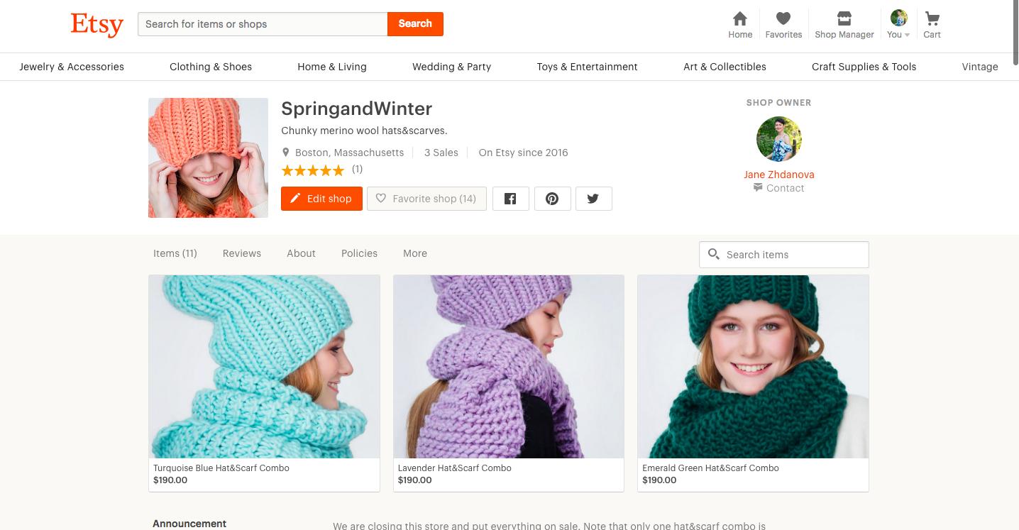 My Etsy store Spring&Winter