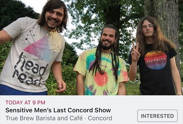 Hey peoples! Tonight is our last show in Concord! We love you all and while we are sad to go, we can't wait to make this a huge night! Come on out to @truebrewbarista Concord, we'll see you there ❤️🤷♂️😢🌃 #sensitivemen #lastshows #goodbye . • • • • • #loshombressensitivos #popfolk #altfolk #folkpop #indiefolk #indiepop #indie #fun #tonight #goodbyeshow #wehadfun #boyband #deathofaband #sorry #thankyou