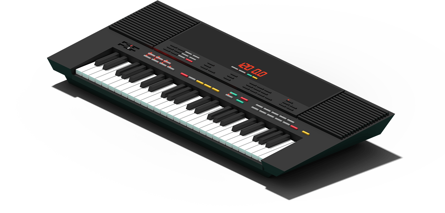 Porta | FM Toy Keys - Porta is a sampled Yamaha PSS-480 for Ableton Live and Logic Pro X. Although the PSS-480 has the appearance of an inexpensive toy keyboard, it possesses a 2-operator FM synth chip, and allows the user to program custom patches. Think of it like a DX7, only with two oscillators instead of six. The synth has vibrato, reverb and sustain effects, and also boasts a rhythm machine, auto accompaniment, a sequencer, and MIDI capabilities - not bad for a small keyboard!