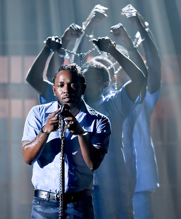 "Kendrick Lamar performing ""The Blacker The Berry"" and ""Alright"" at the 58th Annual GRAMMYs in 2016."