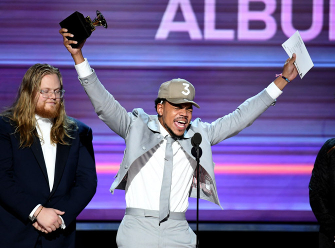Photo of Chance the Rapper winning one of his first GRAMMYs at the 59th GRAMMY Awards in 2017.