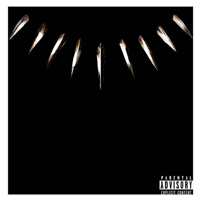 Official artwork of   Black Panther: The Album - Music from and Inspired By,  which was curated by Kendrick Lamar and released by TDE/Interscope Records.