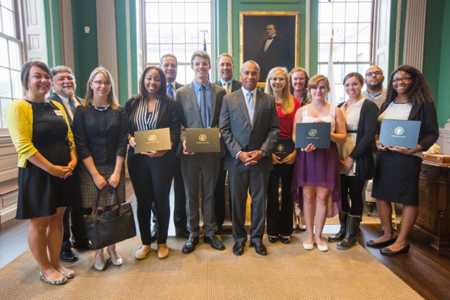Tierney Flaherty and the Massachusetts Youth of the Year finalists meet with Gov. Deval Patrick.