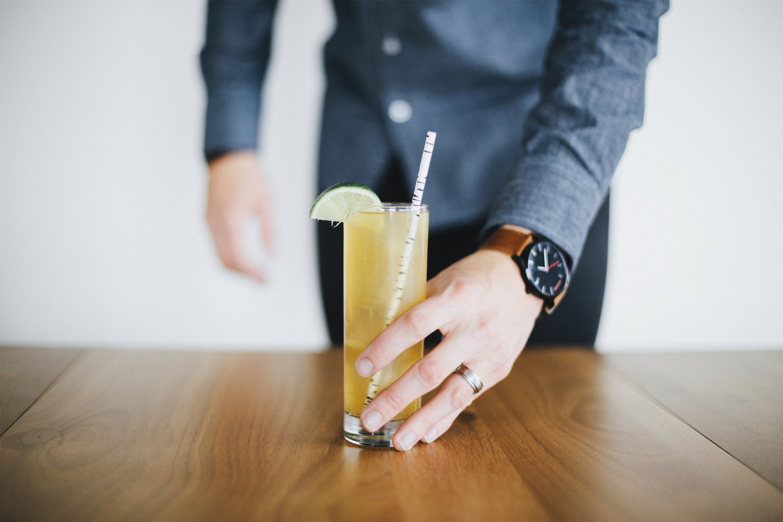 ingredients: - 1 oz Ancho Reyes liqueur1 oz Irish Whiskey1/2 oz fresh lime juiceGinger beerGarnish: lime wedge