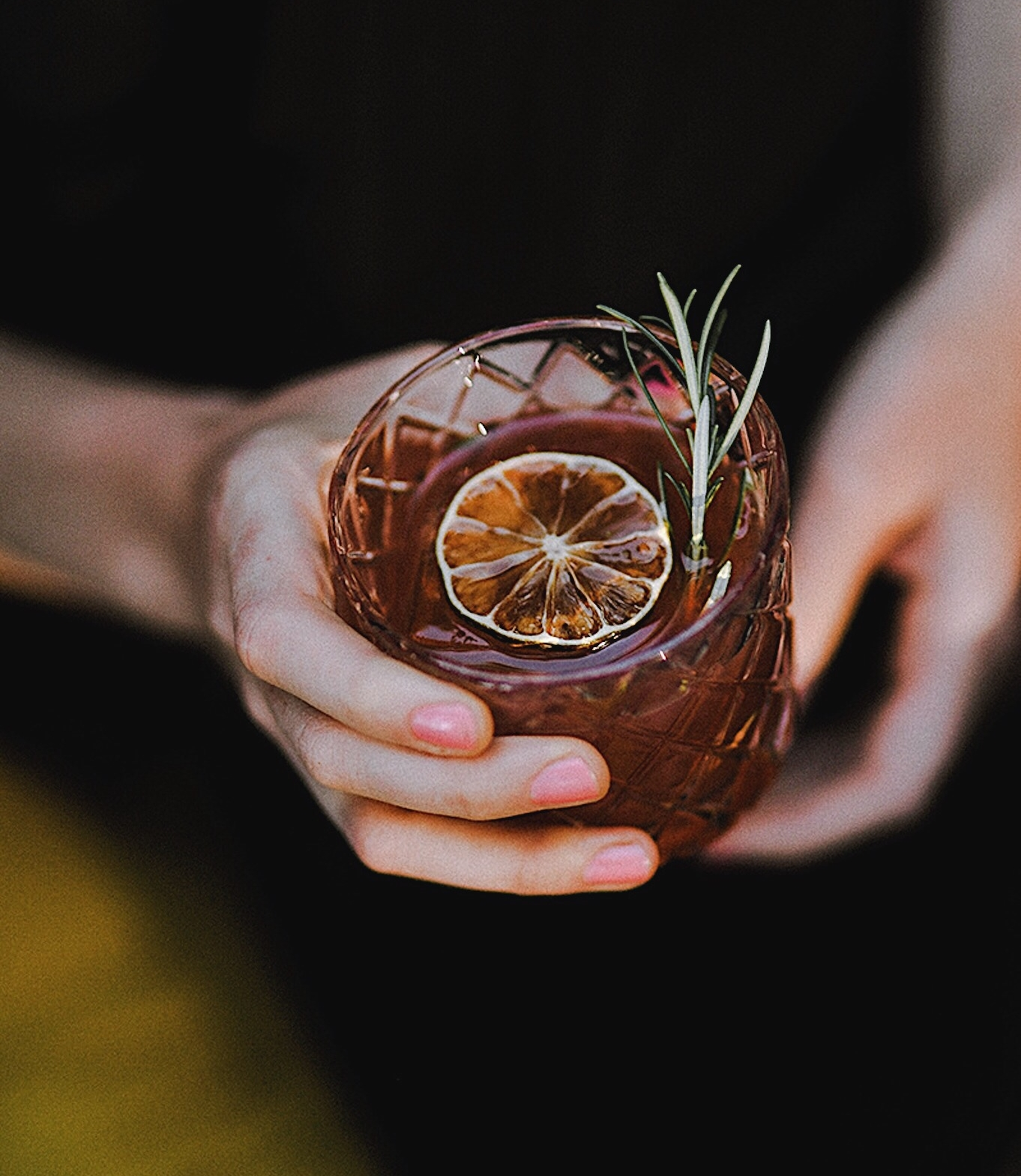 ingredients: - 1 1/2 Portland Potato Vodka1 1/2 oz pomegranate juice3/4 oz fresh lime juice1/4 oz simple syrup3 dashes of grapefruit bittersFresh rosemary sprigGarnish: Another sprig of rosemary & dehydrated lime wheel