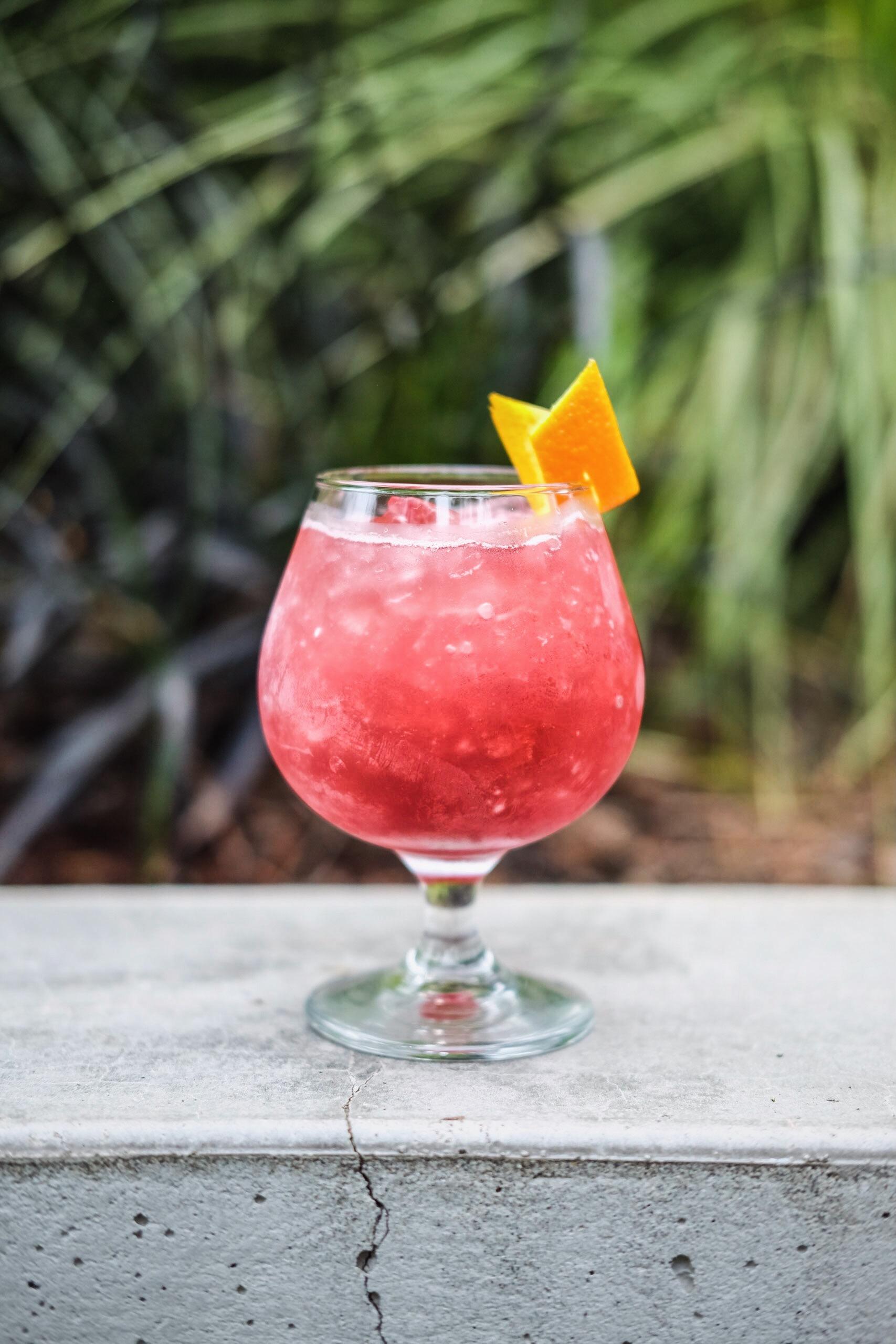 Pacific Sunset - 1oz Cranberry-infused vodka1oz apple brandy¾ oz fresh orange juice½ oz cinnamon syrupsplash of soda