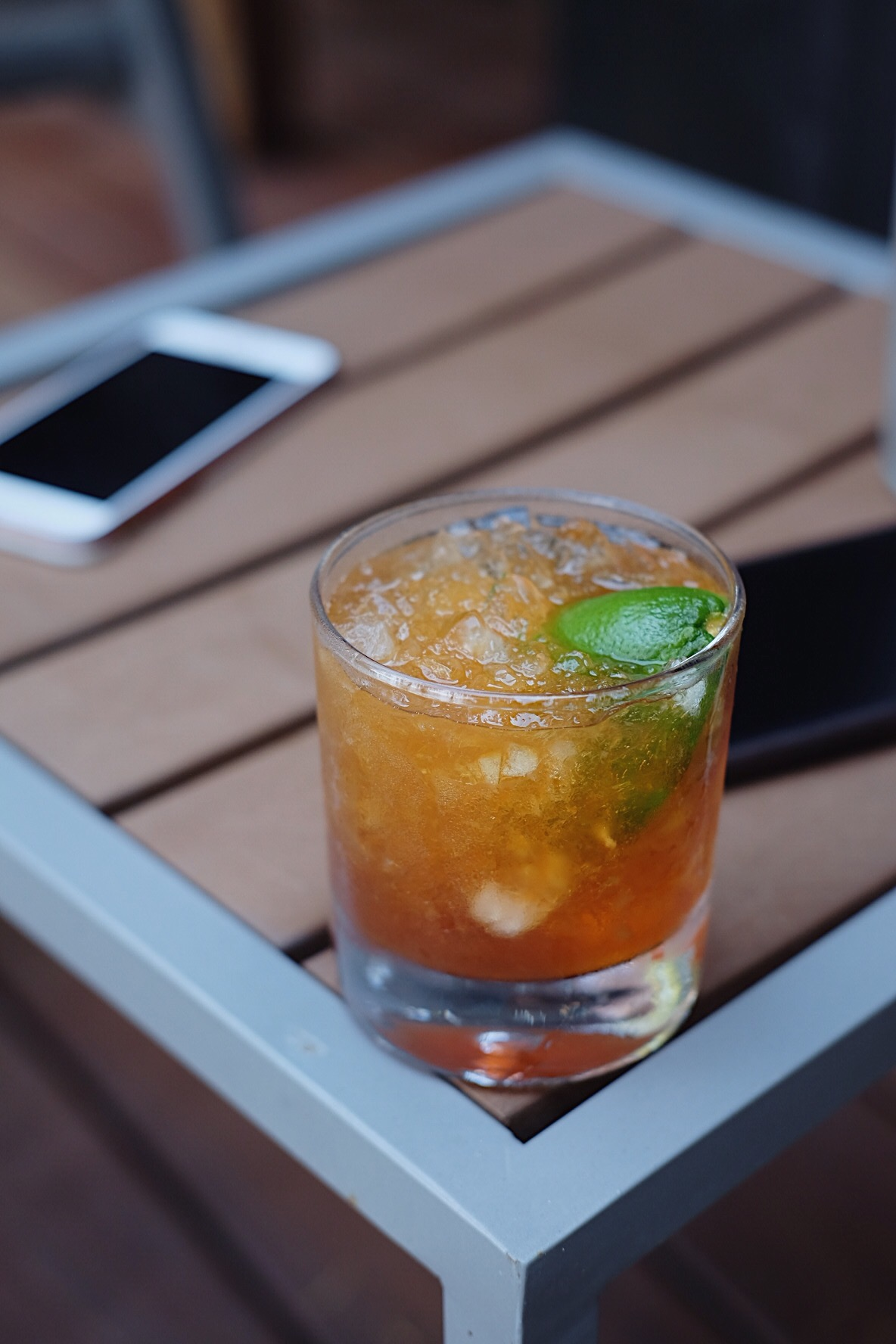 ingredients: - 2 oz Barbados rum1/2 oz Falernum2 dashes aromatic bitterssqueeze of lime
