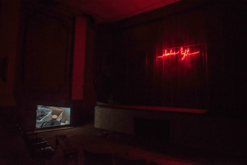 Installation of Shameless Light at historic Lyric theater, 2016. • Video (Love Letter to Chantal Akerman), neon, 2016.