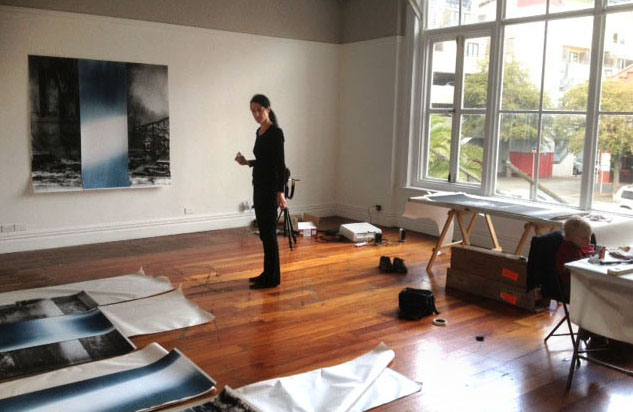 Installation in progress at Enjoy Public Art Gallery, 2013. View of windows which were used for exposure as photo studio in late 19th to mid 20th century.