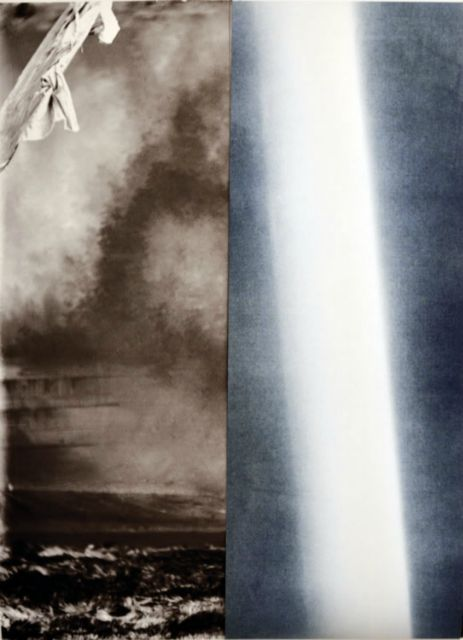 """Detail of 2 panel print. • 2 panel photographic print using scan of glass plate negative found at Enjoy in late 1990s of soldiers before leaving for WWI, and light registered through cyanotype in May 2013. Each panel 22 x 60"""" on hahnemuhle rag paper, 2013."""
