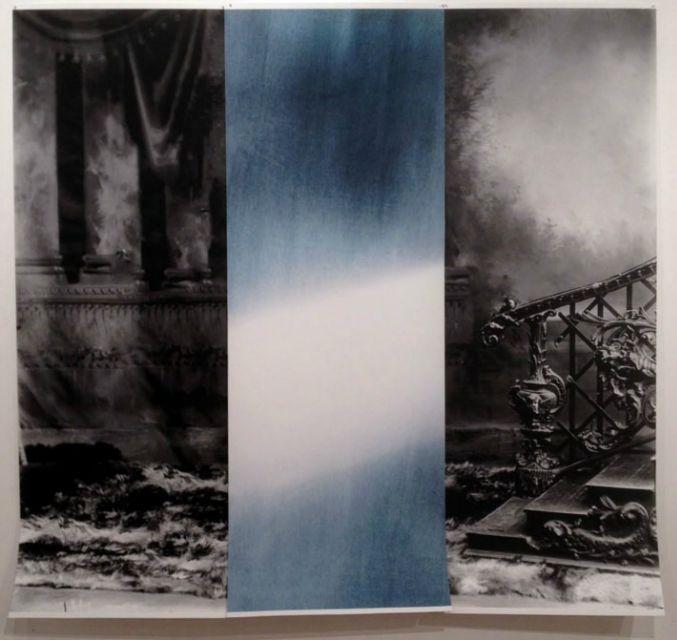 """Detail of 3 panel print. • 3 panel photographic print using scan of glass plate negative found at Enjoy in late 1990s of soldiers before leaving for WWI, and light registered through cyanotype in May 2013. Each panel 22 x 60"""" on hahnemuhle rag paper, 2013."""