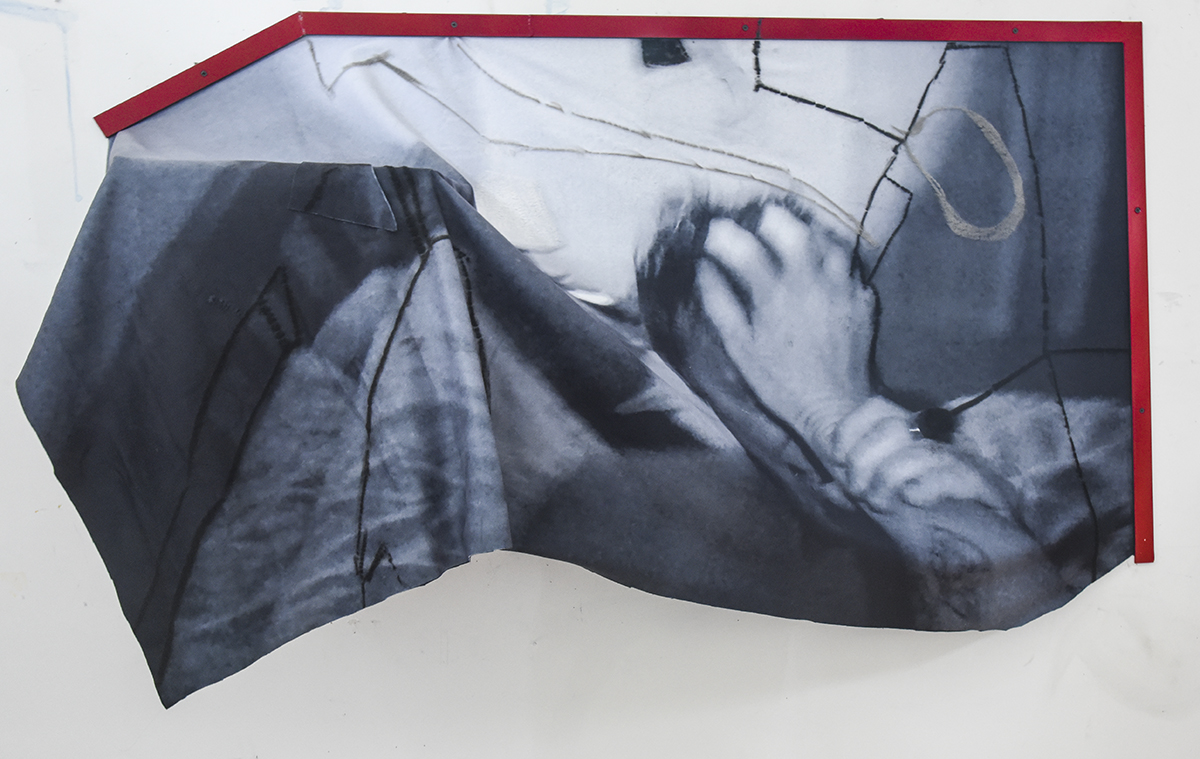 Push down for Laura, 2018  Cardboard box, steel, charcoal, pastel, acetate, video still on synthetic fleece blanket.  59x37x15