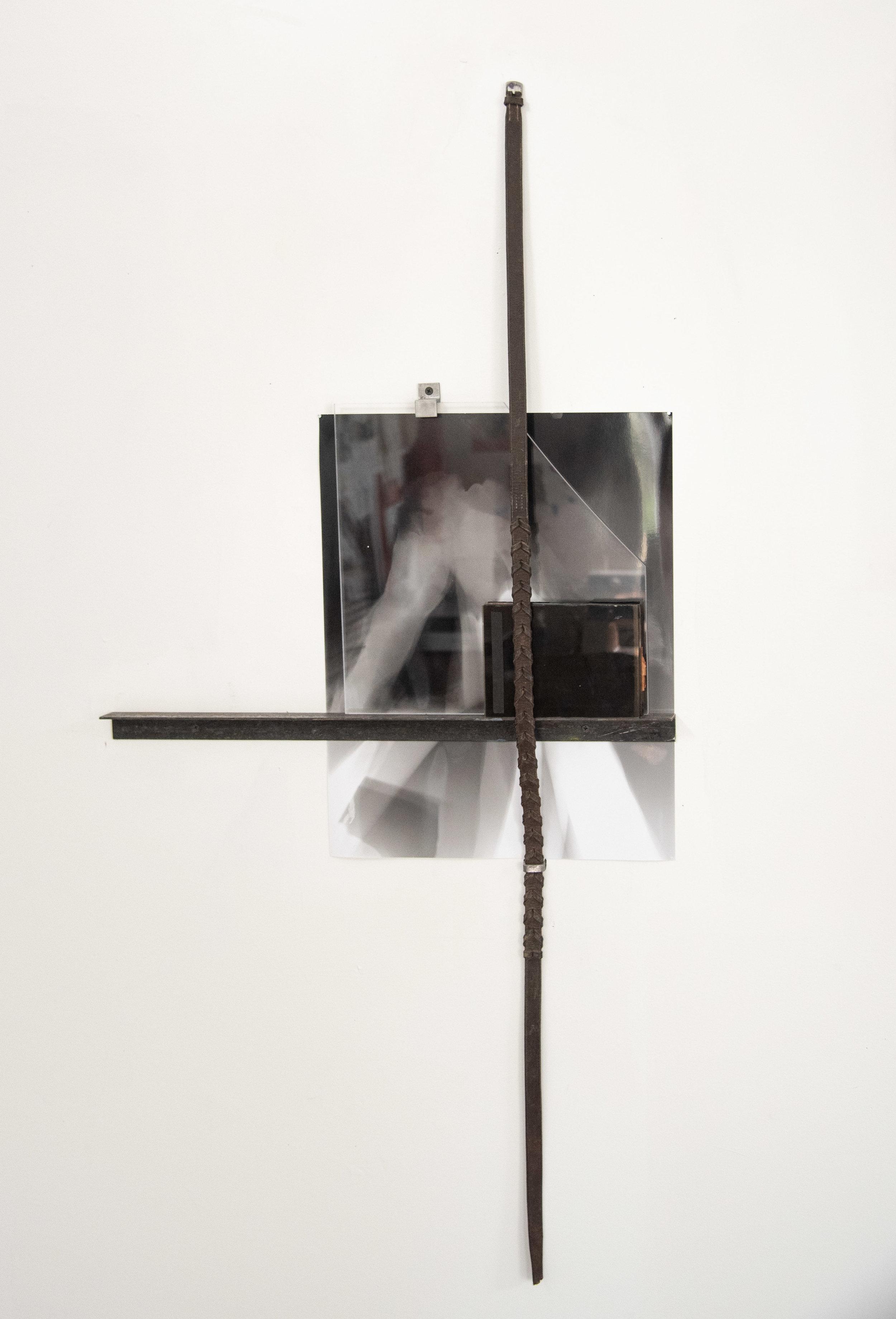 "Hold (Rose ), horse reins, metal, plexi, metal brackets, glass negatives, 40 x 24 x 4"", 2019."