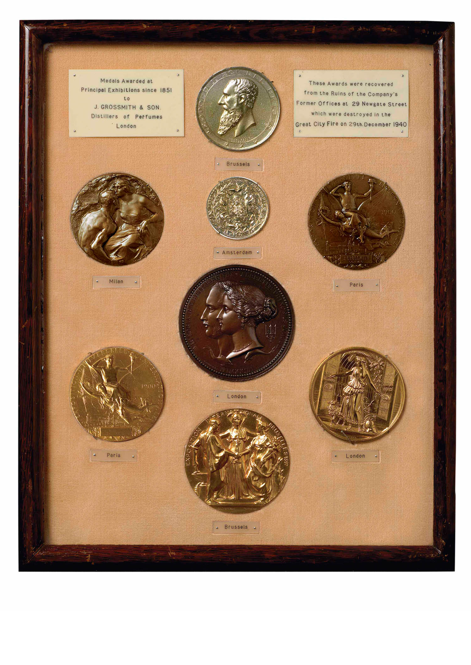 Medals awarded to Grossmith for excellence in perfumery. Great Exhibition medal in centre