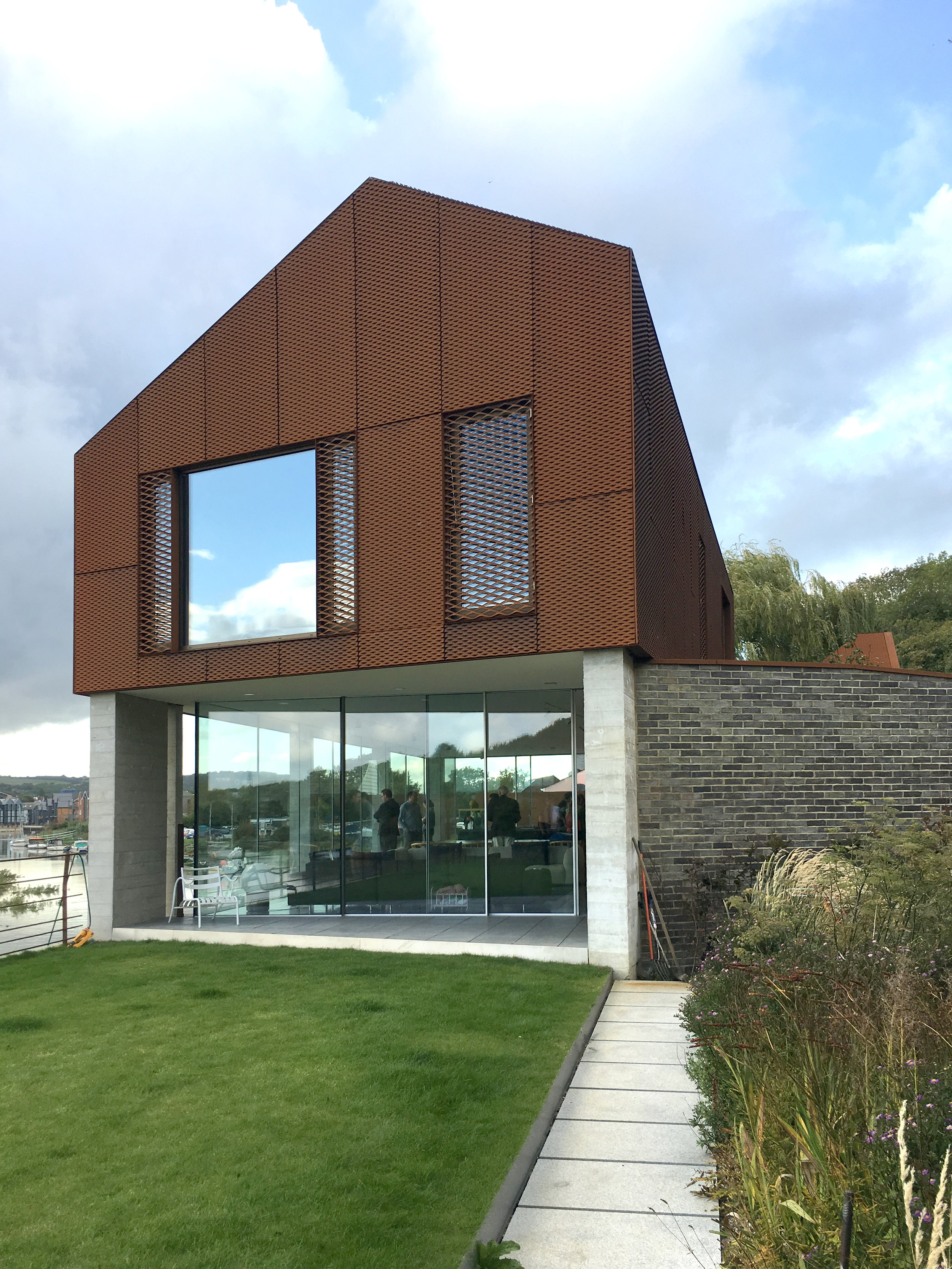 RIBA Sussex Branch visit to see South Street Lewes by Sandy Rendel Architects. Looking out over the River Ouse.