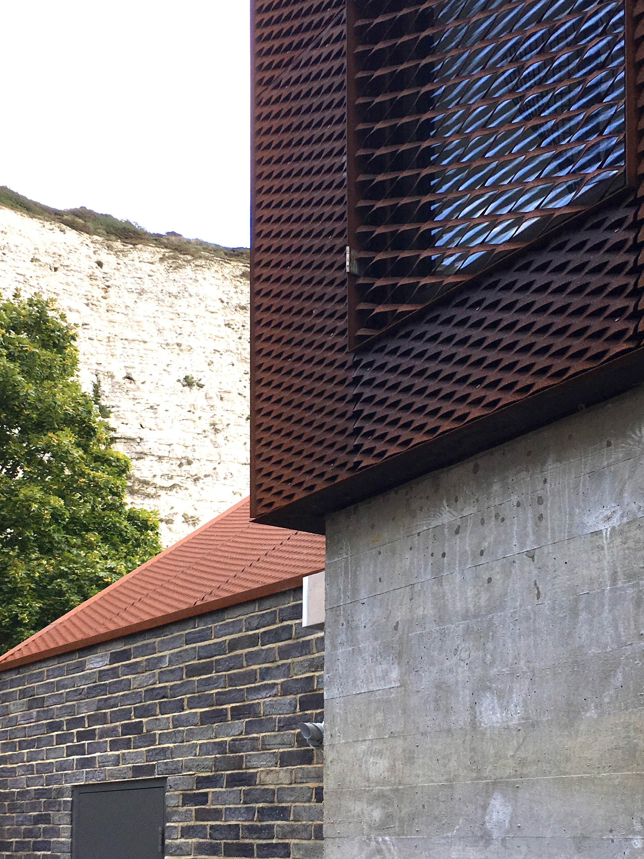 RIBA Sussex Branch visit to see South Street Lewes by Sandy Rendel Architects. Beautiful shutter concrete structure with corten cladding.