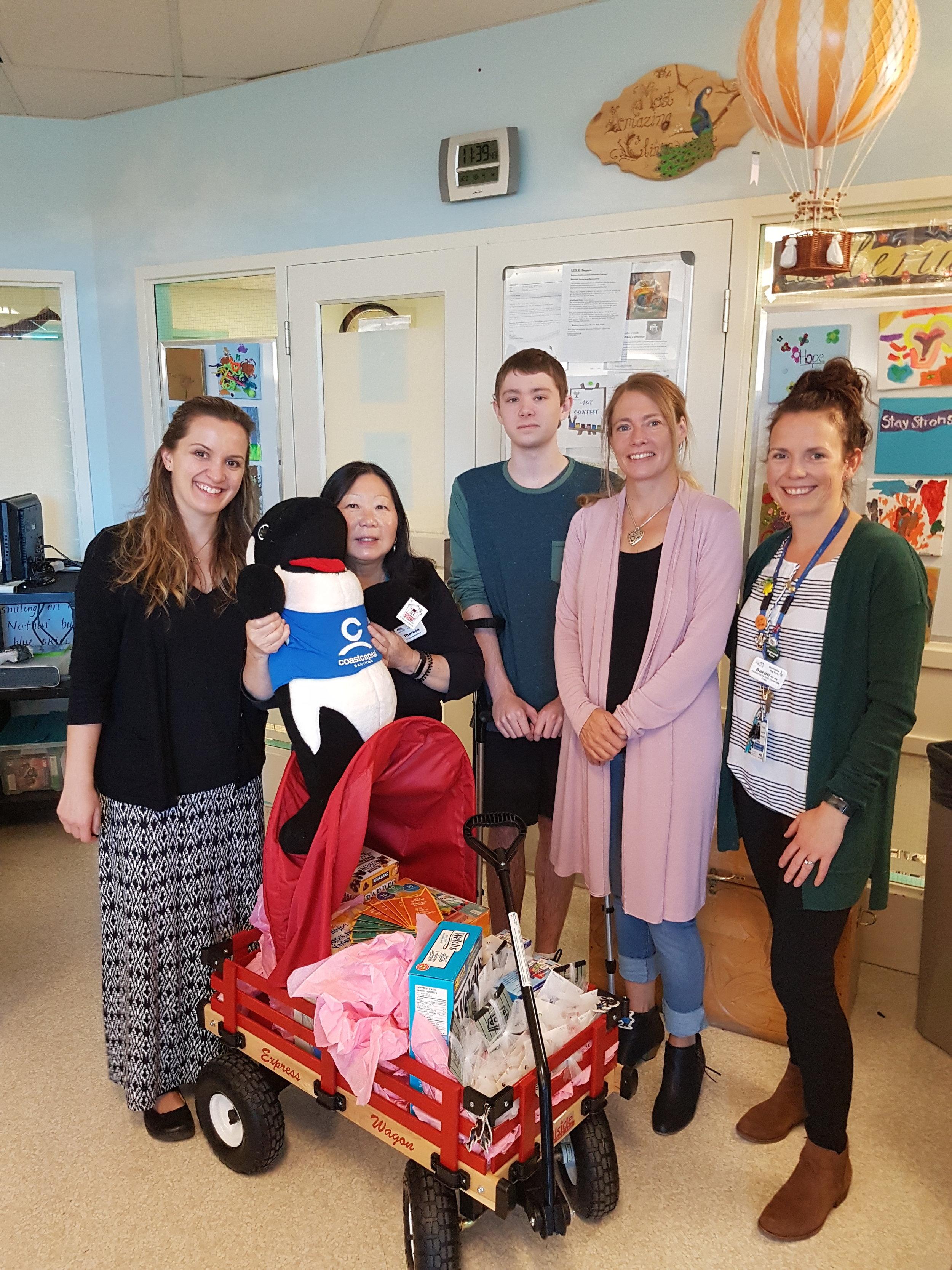From left to right: Dr. Ewa Lunaczek-Motyka (Pediatric Oncologist), Theresa Low (Child Life Specialist), Jacob Kerr (Super Hero), Susan Kerr (CARE 4 Kids Program Coordinator), Sarah Fitton (Pediatric Oncology Nurse Clinician)