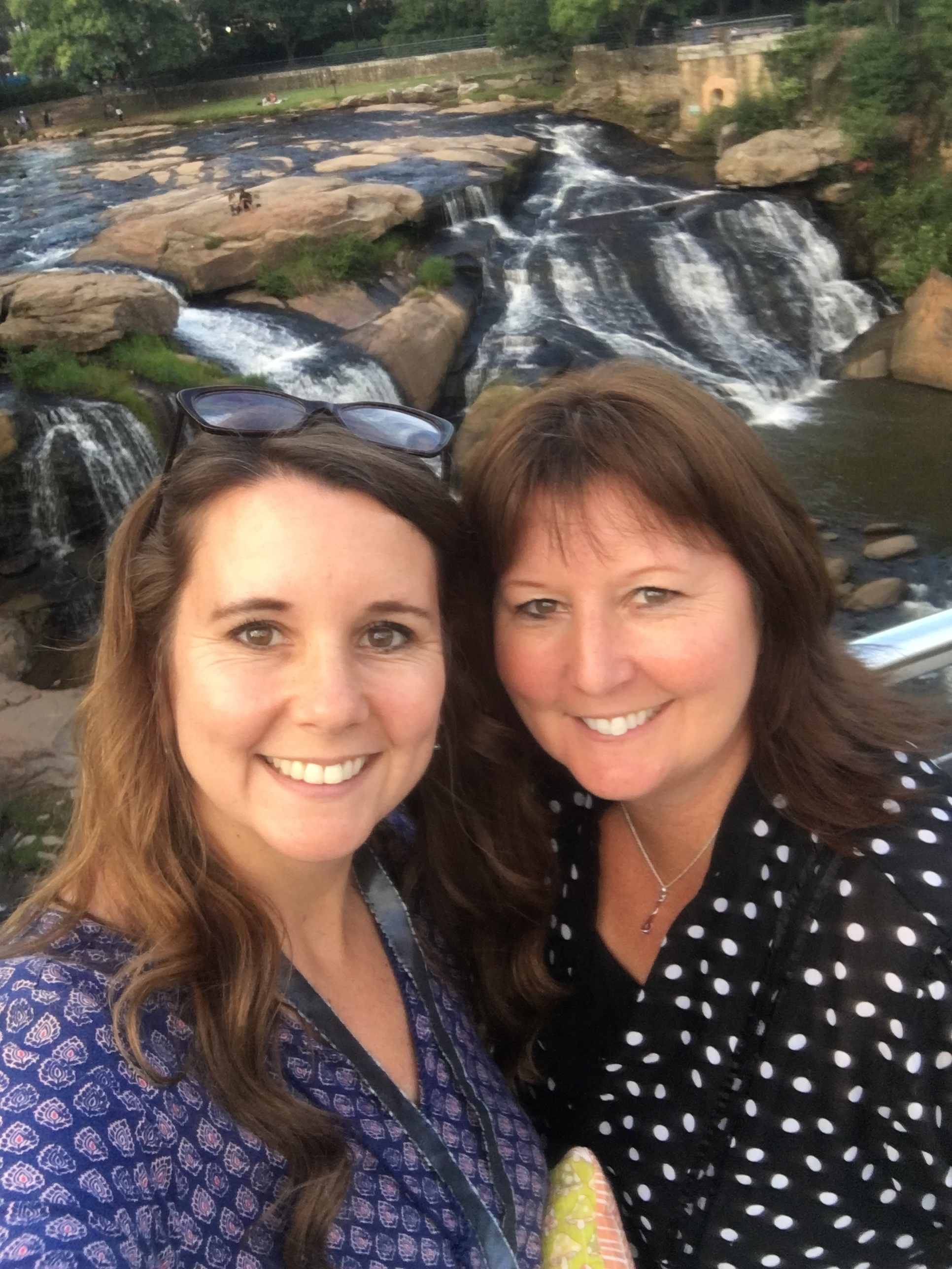 This is my sister Michelle and I. We flew into Greenville, South Carolina and then drove an hour and a half to Black Mountain, North Carolina. We lived in South Carolina when we were younger (Navy kids), and enjoyed exploring in downtown Greenville.