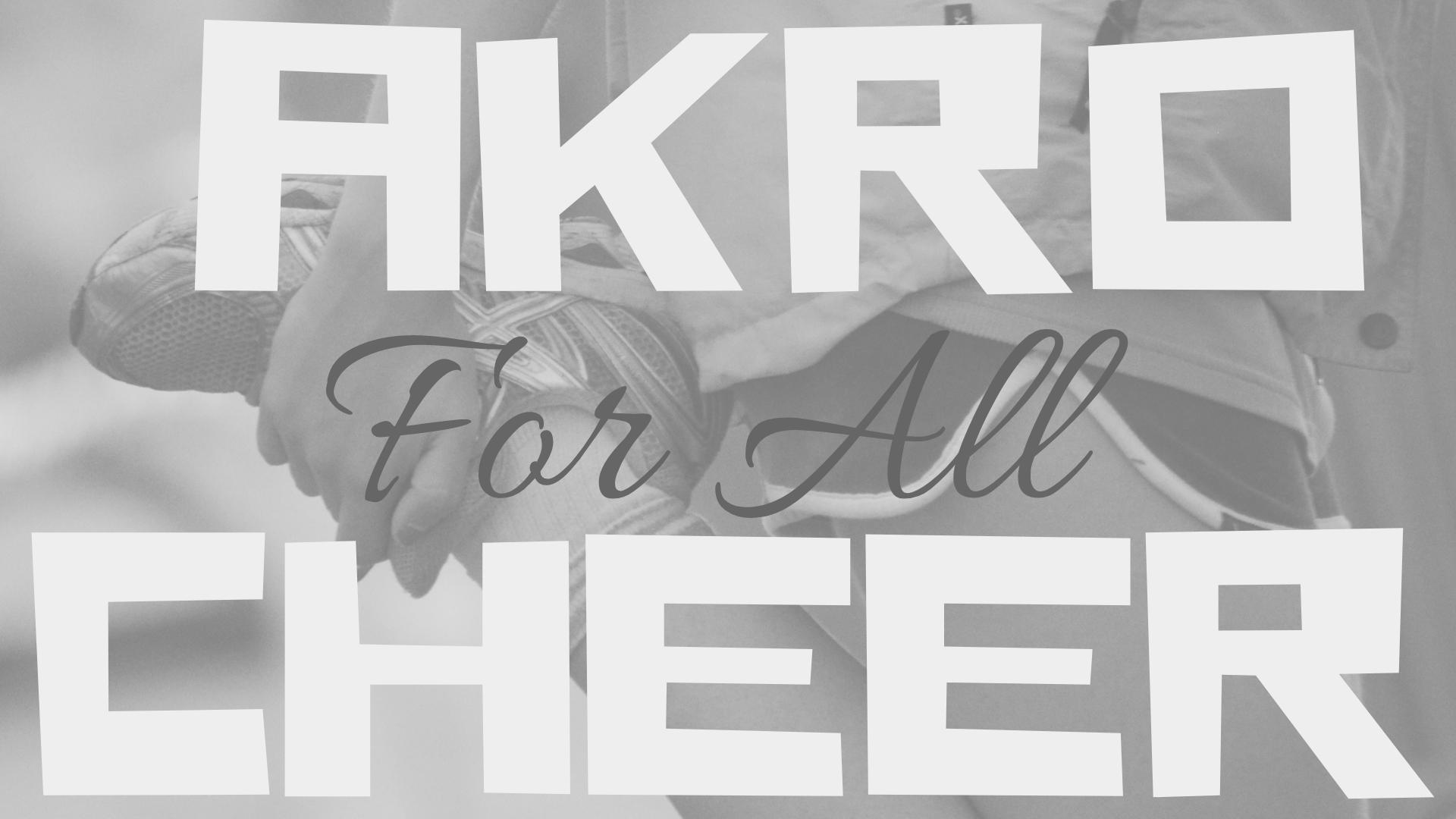 AKRO JA CHEER FOR ALL - Akro For All järjestetään ensimmäistä kertaa syksyllä 2019 Cheer For All -ryhmän innoittamana. Akrobatia on mahtava tapa päästä kehittämään kehonhallintaa sekä haastamaan itseään esimerkiksi käsilläseisonnan ja kärrynpyörän harjoittelun merkeissä. Osallistuminen ei edellytä aiempaa urheilutaustaa.Cheer For All -treeniryhmässä kuntoillaan kerran viikossa cheerleadingin eri osa-alueiden merkeissä. Osallistuminen ei edellytä aiempaa lajitaustaa, vaan on tarkoitettu ihan kaikille.MITÃ: Aikuisten akrobatiaryhmä ja cheerleading-treeniryhmäMISSÄ: Salmisaaren liikuntakeskusMILLOIN: Keskviikkoisin klo 18:30-19:30 (Akro) & klo 19:30-20:30 (Cheer)