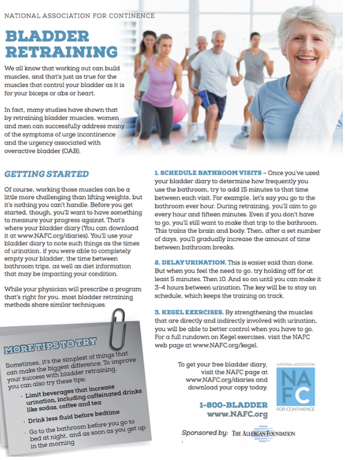 Downloadable Bladder Retraining Tips Sheet