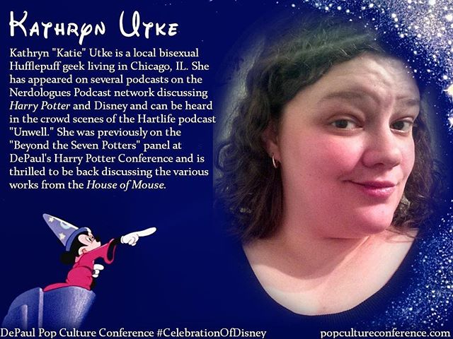 Introducing Kathryn Utke! Kathryn will be presenting on queer-coding in Disney films, as well as the Kingdom Hearts franchise, at our #CelebrationOfDisney. We hope to see you there! Free registration for #DePaulDisney is available through Eventbrite on our website, popcultureconference.com!