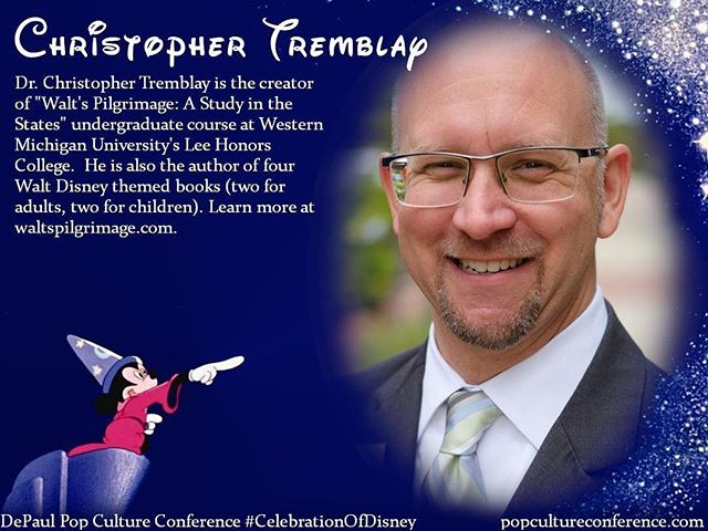 Introducing Christopher Tremblay!  @WMUDisney  will be presenting on the life and pilgrimage of Walt Disney at our #CelebrationOfDisney. We hope to see you there! Free registration for #DePaulDisney is available through Eventbrite on our website, popcultureconference.com!