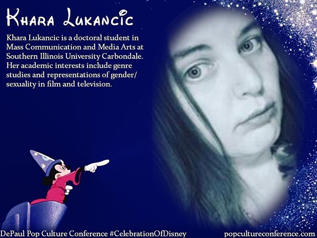 "Introducing Khara Lukancic! Khara will be presenting on gendered aggression in the original and remade ""Beauty and the Beast"" at our #CelebrationOfDisney. We hope to see you there! Free registration for #DePaulDisney is available through Eventbrite on our website, popcultureconference.com!"