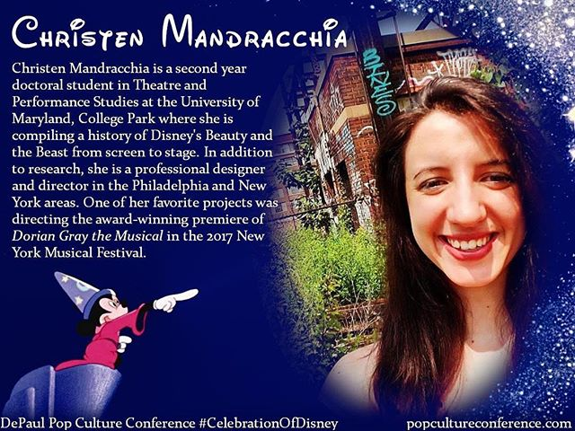 Introducing Christen Mandracchia! Christen will be part of our panel on Disney and theatre at our #CelebrationOfDisney. We hope to see you there! Free registration for #DePaulDisney is available through Eventbrite on our website, popcultureconference.com!