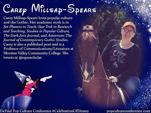 "Introducing Carey Millsap-Spears! Carey will be presenting on the place of Disney's ""The Lone Ranger"" in Native American Gothic fiction at our #CelebrationOfDisney. Free registration for #DePaulDisney is available through Eventbrite on our website, popcultureconference.com! Less than one week away—we hope to see you there!"