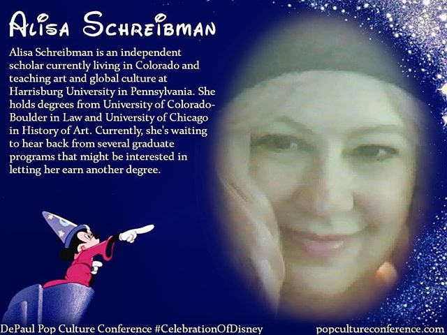 "Introducing Alisa Schreibman! Alisa will be presenting on how Disney and fans have ""re-de-trans-formed"" the Evil Queen from ""Snow White"" at our #CelebrationOfDisney. We hope to see you there! Free registration for #DePaulDisney is available through Eventbrite on our website, popcultureconference.com!"