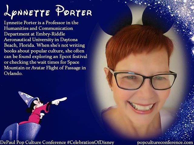 Introducing Lynnette Porter! Lynnette will be presenting on poetry about Disney and Disney theme parks at our #CelebrationOfDisney. Free registration for #DePaulDisney is available through Eventbrite on our website, popcultureconference.com! Only three days left til the conference—we hope to see you there!