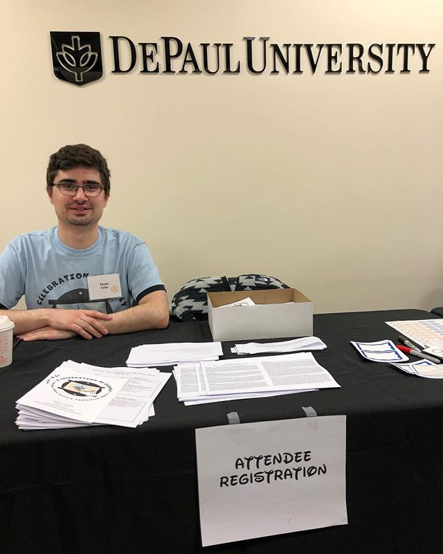 Welcome to #DePaulPopCulture #DePaul Disney 2019! Our friendly volunteers like Thom are ready to help you register for a magical day in Chicago!