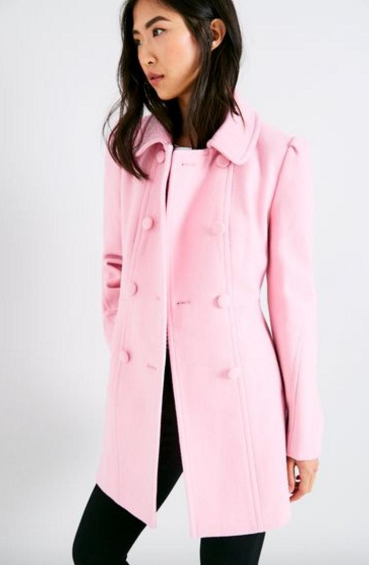 Jack Wills Pink Wool Coat