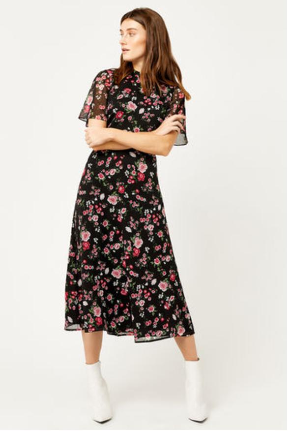 1. Floral midi dress.