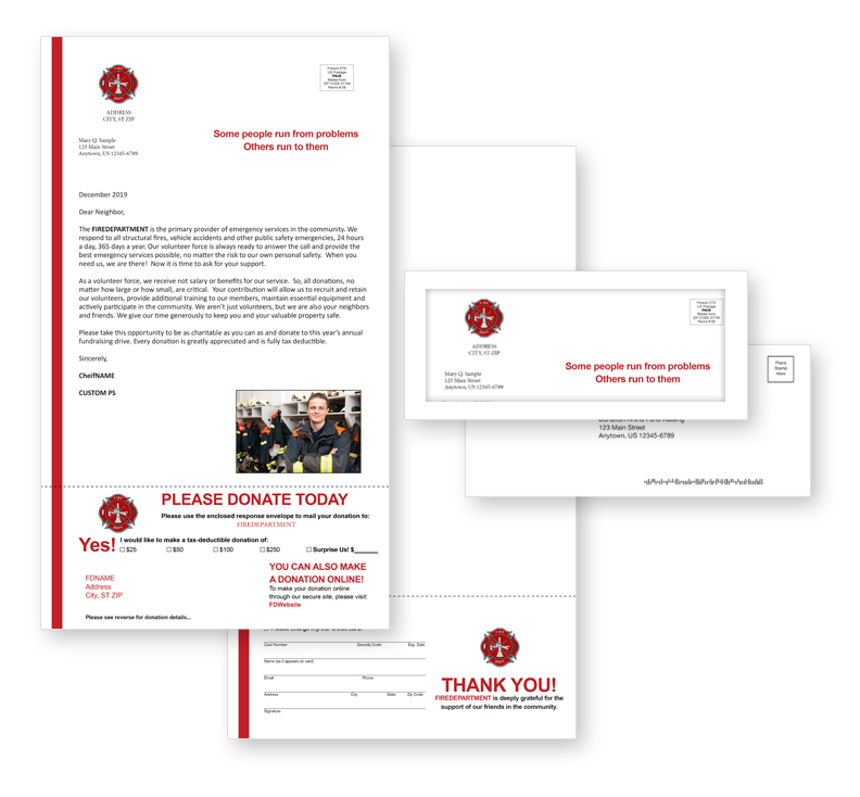 Donation Rhino Fire Department fundraising direct mail package