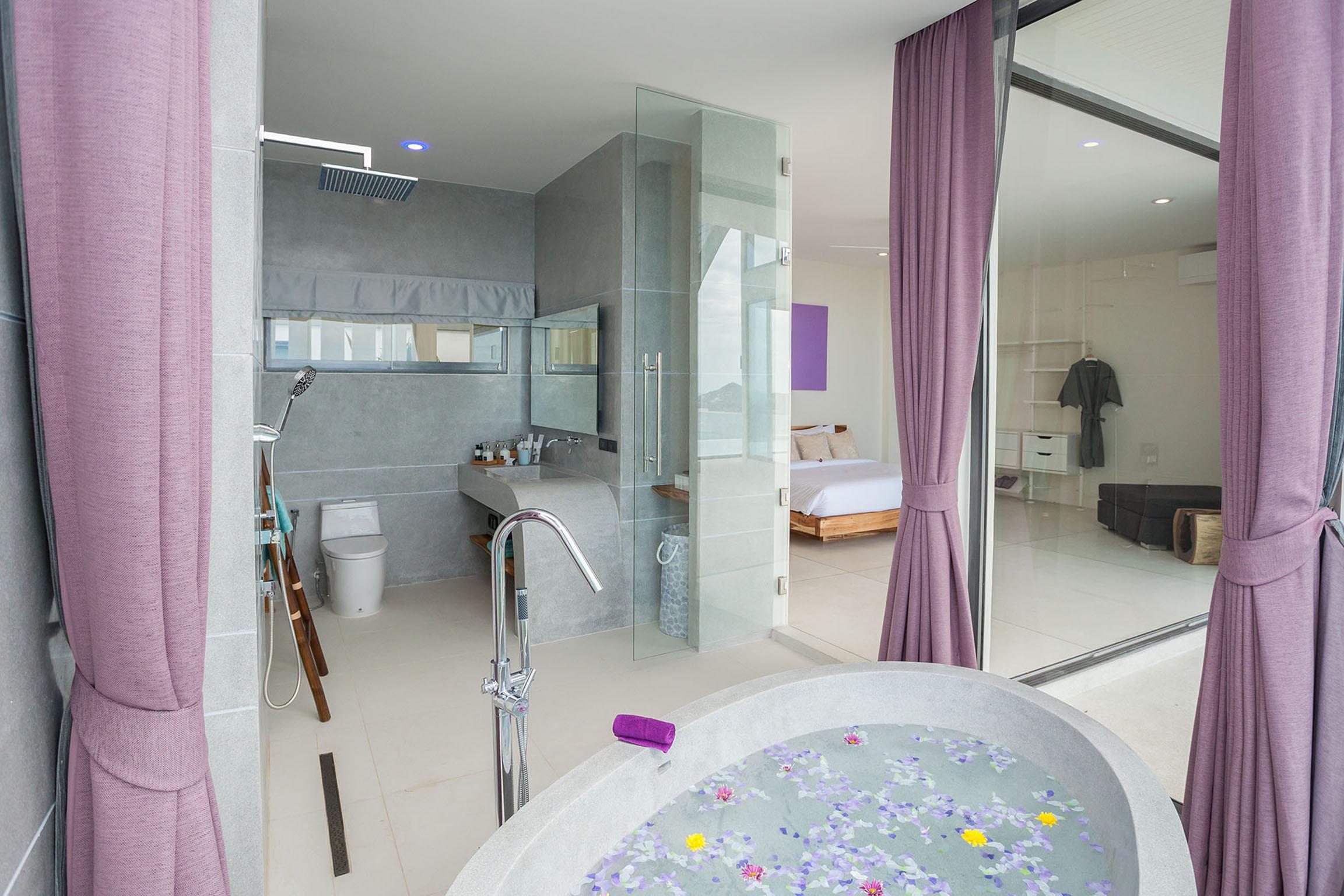 Bath overlooking the bedroom