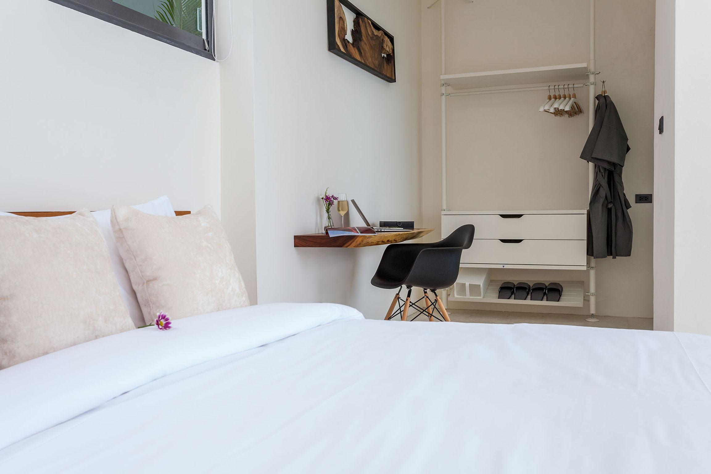 Bedroom with wooden desk
