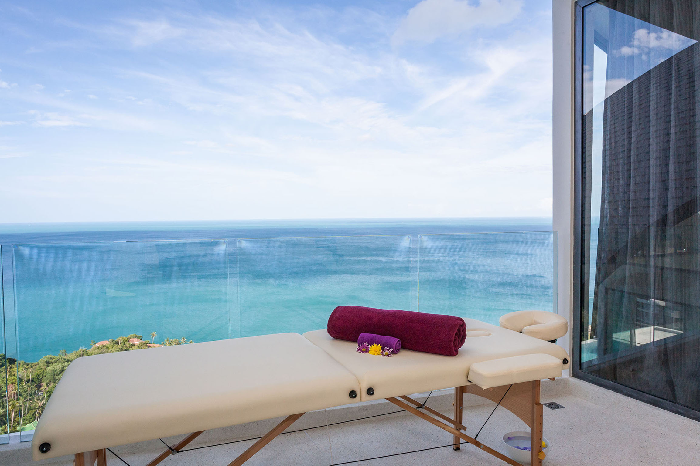 Massage table view on the bay