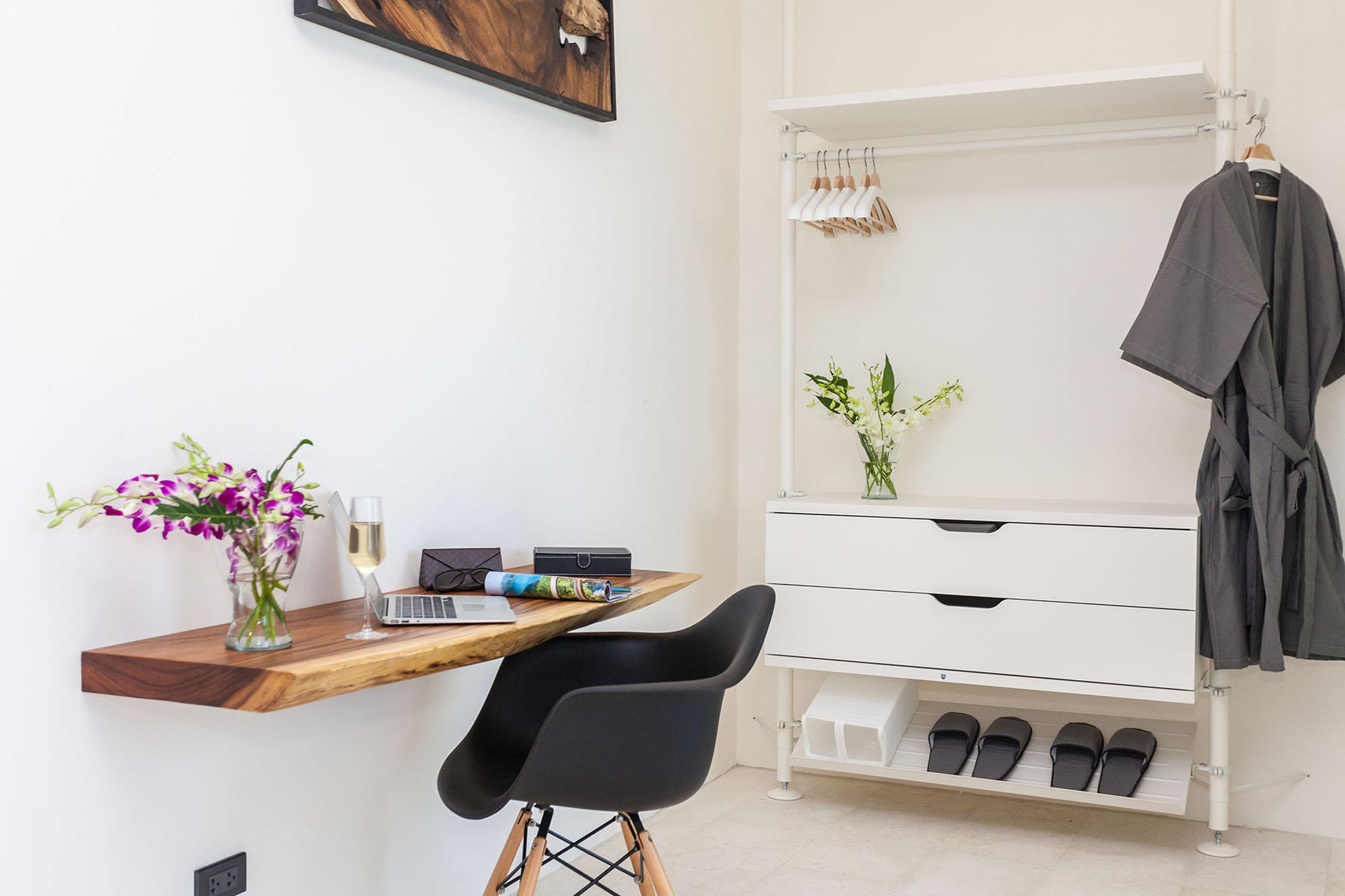 Wooden desk and wardrobe