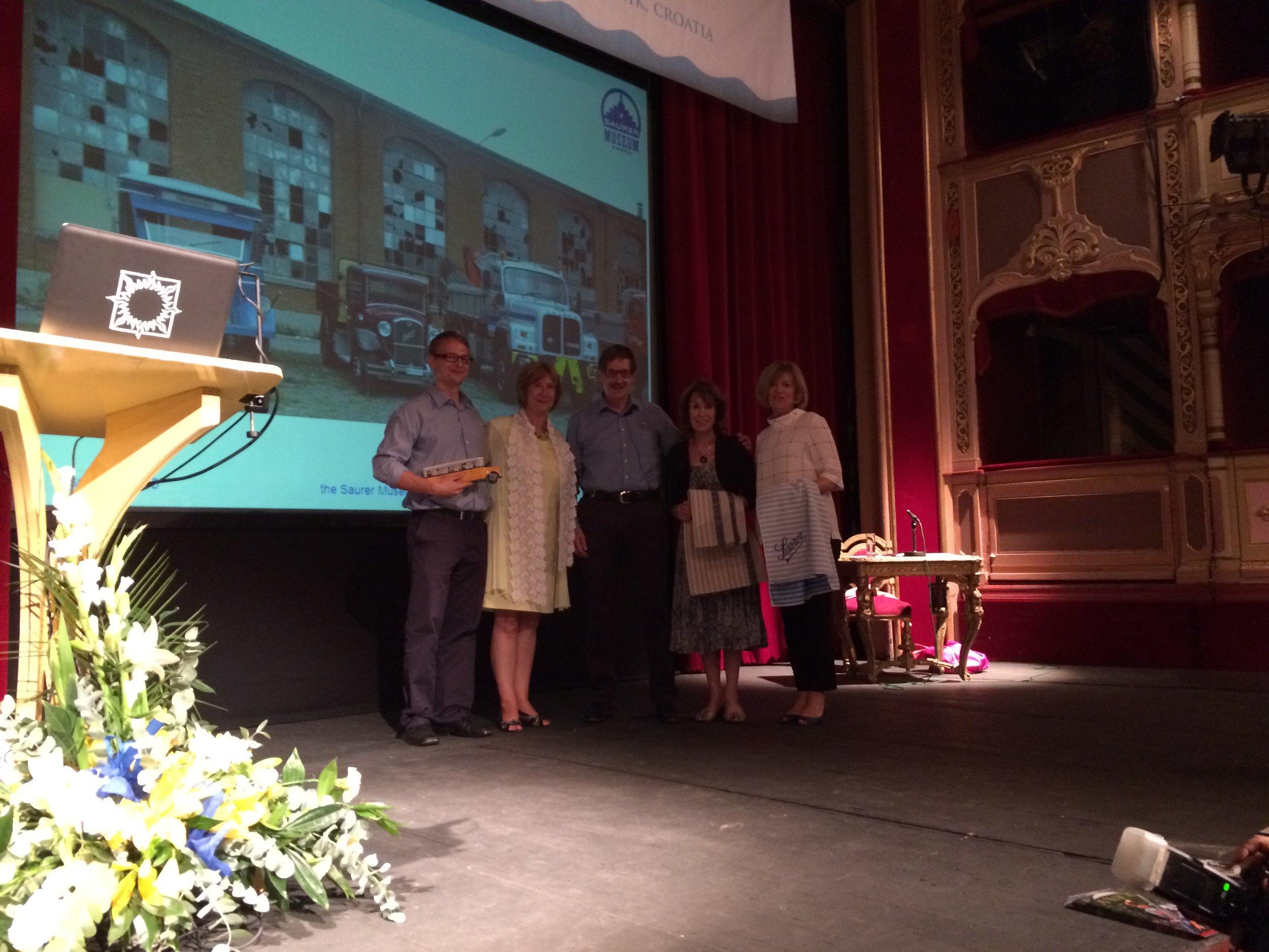Saurer Museum winners with EMYA Chair, Goranka Horjan, Trustees Jan Brooks and Carol Jackson at Best in Heritage, Dubrovnik