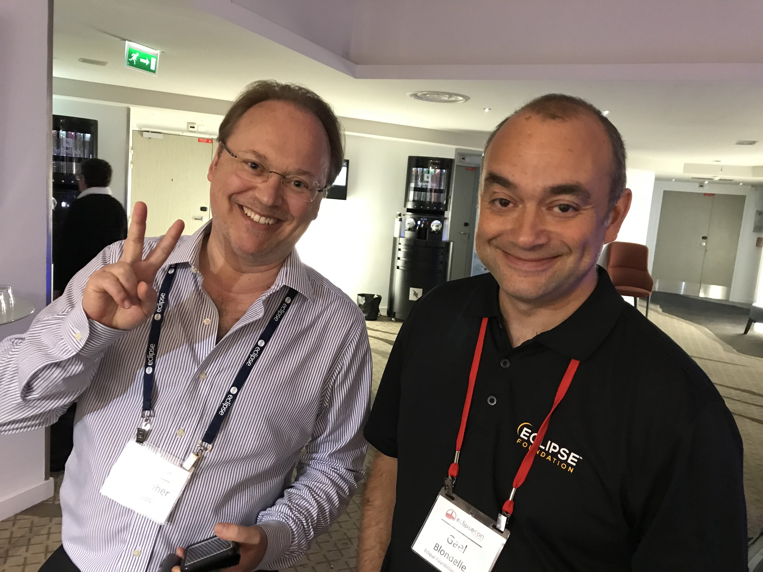 Christopher Mindus is happy at EclipseCon with Gaël Blondelle