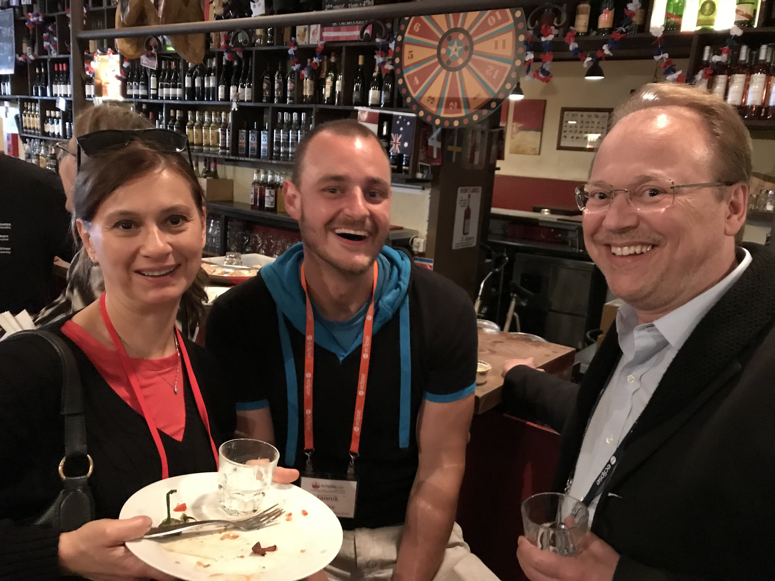 EclipseCon's Tanja Obradovic and Jannik Berve with Christopher Mindus